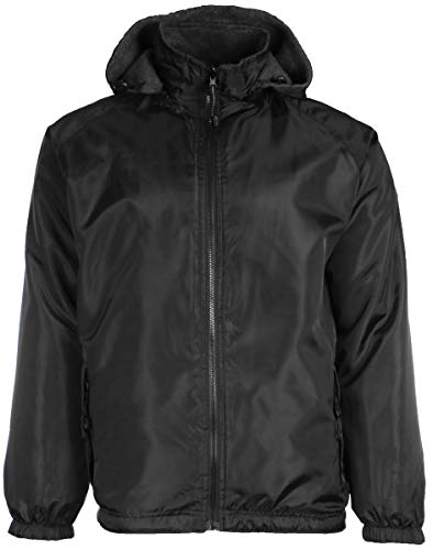 (Mens Reversible Water Resistant Fleece Lined Black Jacket Zip-Off Hood in Big Sizes 2X 3X 4X (3X, Black))