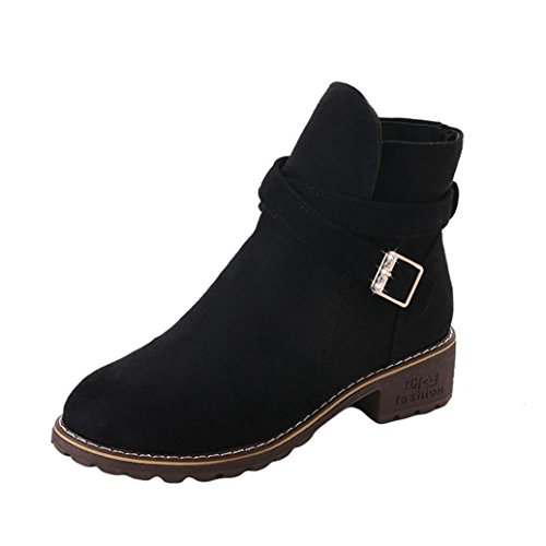 Clearance Sale Womens Girls Ankle Boots, Autumn Winter Casual Martin Shoes 5.5-8 (Black, US:7.5) by Aurorax-Shoes