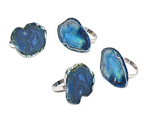 Godinger Silver Art Agate Napkin Rings - Blue, Set of 4