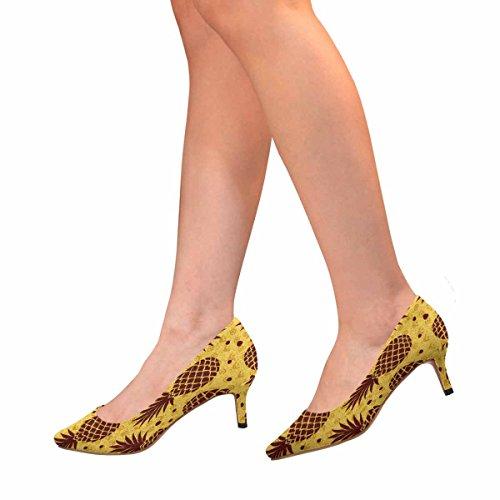 Scarpe Da Donna Low Cost Con Tacco Basso Gattino Scarpe A Punta Modello Frutta Multi 1