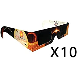 10-Pack Premium ISO and CE Certified Lunt Solar Eclipse Glasses