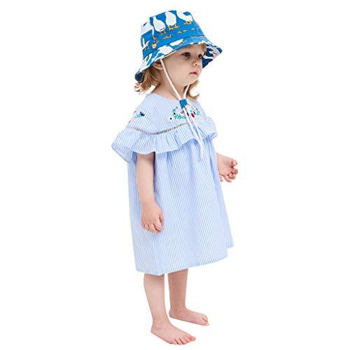 Lanhui Kid Baby Boy Girl Adjustable Cartoon Beach Chin Strap Sun Protection Bucket Hat (18-24 Months, Blue)