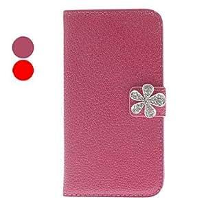 ZCL- Noble Rhinestone Fleur Diseño Caja de cuero de la PU para Samsung Galaxy S4 i9500 (colores surtidos) , Rojo