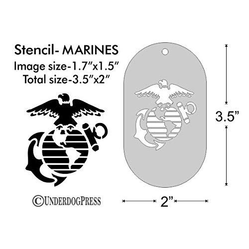 Stencil - United States Marine Corps, Image Size 1.7x1.5 on 3.5x2 Border