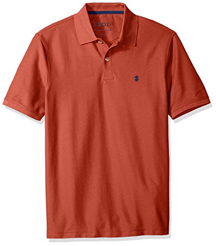 IZOD Men's Regular Fit Advantage Performance Short Sleeve Solid Heather Polo, Ketchup, Large ()