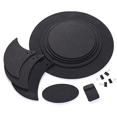 Drum Mute Practice Pad Snare - ULKEME 10pcs Bass Snare Drum Sound Off Mute Silencer Drumming Rubber Practice Pad Set
