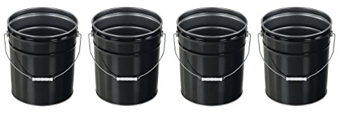 Vestil PAIL-STL-RI Steel Open Head Pail with Handle, 5 gallon Capacity, Black (Pack of ()