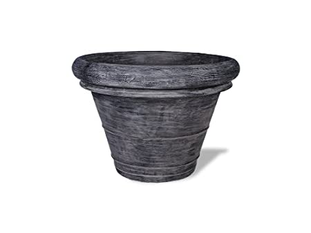 Black 16 by 16 by 14-Inch Amedeo Design ResinStone 2506-2B Rolled Rim Planter