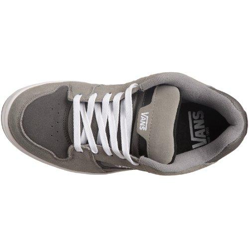 Vans Heren Docket Skate Suède Lederen Logo Schoenen Grijs / Houtskool / Wit