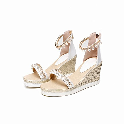 Carolbar Women's New Style Charm Beaded High Heel Wedge Zip Sandals White saKvclLPU