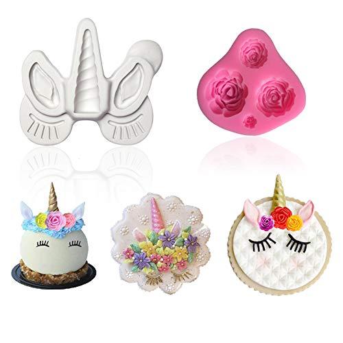 (Palksky Unicorn Mold - Unicorn Birthday Cupcake Topper Mold,Unicorn Horn,Ears and Eyelash Flower Chocolate Candy Making Fondant Mold (Set of 2))