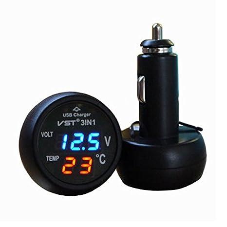 3in1 Digital Voltmeter Thermometer 12 / 24V Zigarettenanzü nder USB Car (Blau) BestEU