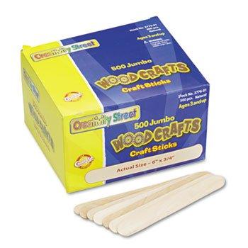 Chenille Kraft 377601 Natural Wood Craft Sticks, Jumbo Size, 6 x 3/4, Wood, Natural, 500/Box by Creativity Street