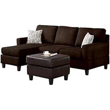 Acme vogue reversible sectional chaise for Brown microfiber sectional with chaise