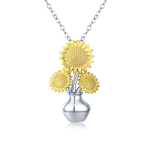 S925 Sterling Silver Sunflower Necklaces - 14K Gold Plated Sunflowers in Vase Inspirational Sunflowers Pendant Necklace Flower Jewelry for Women Lover Friends