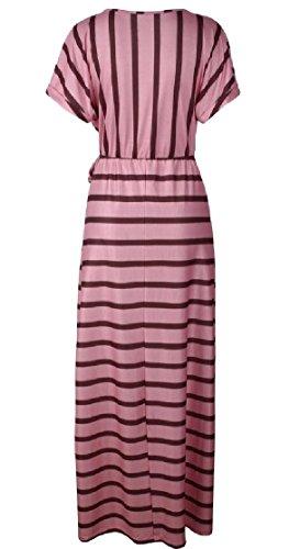 Women Jaycargogo Maxi Pink Neck Stripes Short Dresses Party Sleeve Loose Print O s dHqxS7vwrH