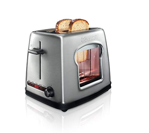 Gourmia GWT430 Wide Mouth 2 Slice Bread & Bagel Toaster - See Through Window for Easy Viewing - 4 Preset Settings - 6 Browning Levels - All Removable Parts for Easy Clean (See The Through Window)