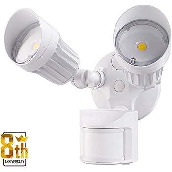 LEONLITE 2 Head LED Outdoor Security Floodlight Motion Sensor, Newly Designed 3 Lighting Modes, ETL & DLC Listed, 1800lm, Waterproof IP65 for Yard, Deck, ...
