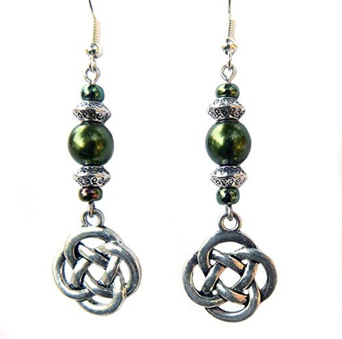 Beaded Celtic Knot Forest Green and Silver Handcrafted Dangle Earrings