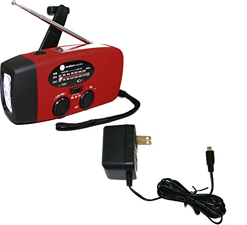 Ambient Weather Wr 089 Ac Emergency Solar Hand Crank Am Fm Noaa Weather Radio  Flashlight  Smart Phone Charger With Cables  Ac Adaptor