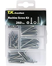 T.K.Excellent Machine Screw 304 Stainless Steel Flat and Pan Head M3 Assortment Kit,260 Pcs