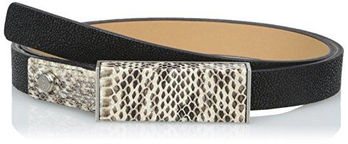 Calvin Klein Women's 20 mm Flat Strap with Plaque Buckle Belt, Black Winter White/White, Small