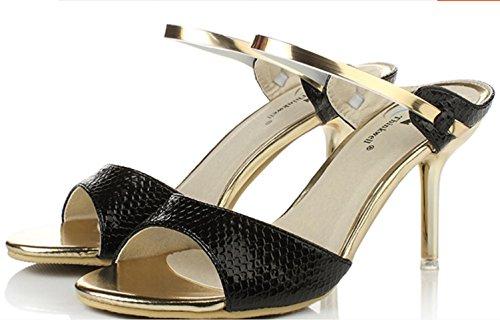 YCMDM Damen Sandalen Sommer Sandalen PU Casual Stiletto Heel weiß schwarz , black , us7.5 / eu38 / uk5.5 / cn38