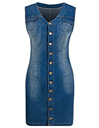Bewish Women's V-Neck Denim Button Down Sleeveless Slim Bodycon Mini Dress S-3XL