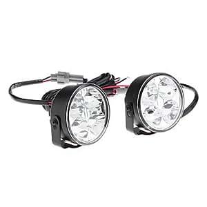 OXOX 4-LED de luz blanca ultra Ronda de coches Faros diurnos (2-Pack)