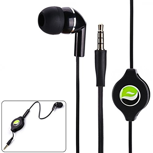 Mono Retractable Premium Sound Handsfree Single Earbud Mic Headset for iPhone 6 6S, Plus, 5S 5C 5, iPad Air Pro Mini - Samsung Galaxy Note 5 4 3 2, Galaxy S7 Edge S6 S5 S4 - All Smartphones, (Retractable Single)