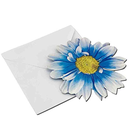 (Blue 3-D Flower Pop Up Cards - 4