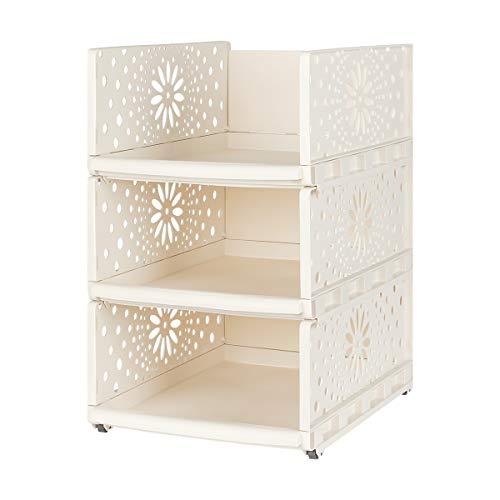 Wardrobe Storage Organiser Box [1 pcs], Plastic Stackable Detachable Storage Box Shelves Closet Organiser for Wardrobe, Bedroom, Kitchen & Bathroom (Beige, Large)