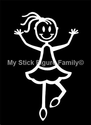 2 opinioni per Ufficiale My Stick Figure Family vinile adesivi auto piccola ragazza ballerina,