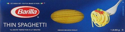 Barilla Pasta, Thin Spaghetti, 16 Ounce (Pack of 20)