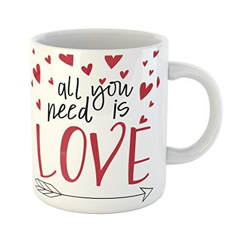 Semtomn Funny Coffee Mug Red Song All You Need Is Love Lyrics Arrow 11 Oz Ceramic Coffee Mugs Tea Cup Best Gift Or Souvenir -