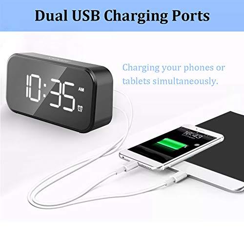 Amdohai Digital Alarm Clock with USB Port for Charging Adjustable Brightness Dimmer LED Digit Display 12/24Hr Snooze Adjustable Alarm Volume Small Desk Bedroom Bedside Clocks