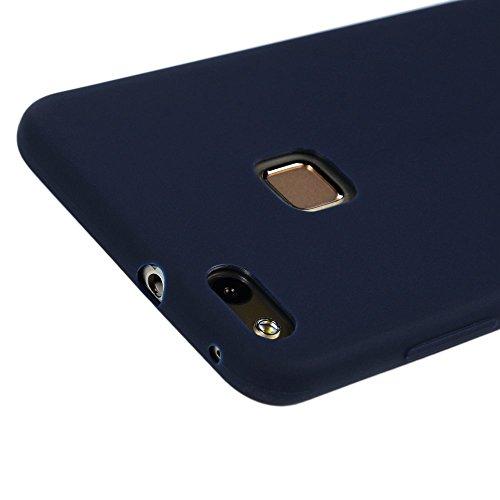 Funda Huawei P10 Lite, CaseLover Suave TPU Silicona Carcasa para Huawei P10 Lite Ultra Delgado Flexible Goma Mate Opaco Protectiva Caso Anti-Rasguños Parachoques Cubierta Anti Choque Case Cover Bumper Azul oscuro
