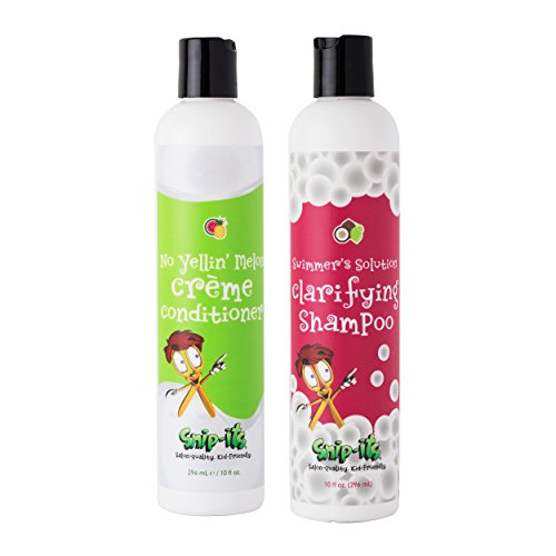 Snip-its Natural Shampoo and Conditioner for Kids | Swimmers Clarifying Chlorine Removal and Detangler Conditioner Restore Hair | All Natural Kids Hair Product Made in USA | Salon Quality Kid Friendly