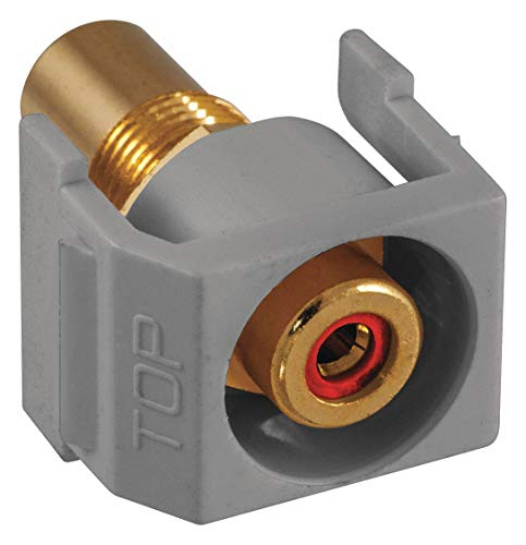 Hubbell Premise Wiring Keystone Jack, Gray, Plastic, Series: iSTATION, Flush Type, Cable Type: RCA (Red)