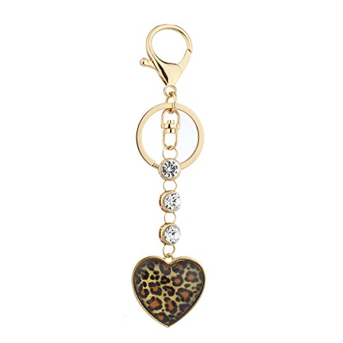 Lux Accessories GoldTone Crystal Rhinestone Leopard Heart Bag Charm Keychain - Leopard Heart Crystal