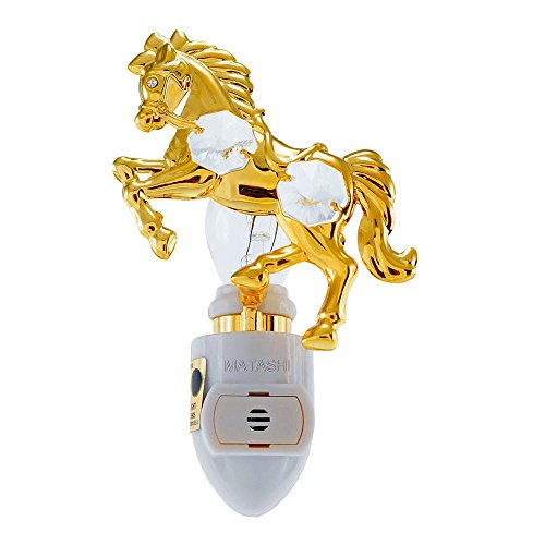 24K Gold Plated Horse Night Light Made with Genuine Matashi - Horse At Outlets Wild