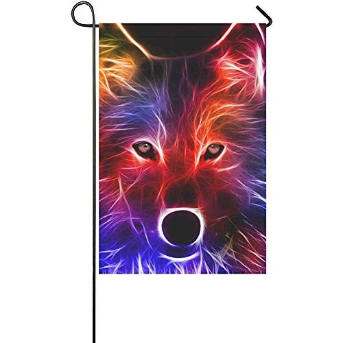 (GRATIANUS Home Decorative Outdoor Double Sided Best D Animal Wallpaper Hd Animated Colorful Fox Polyester Garden Flag Banner 12 x 18 Inch for Outdoor Home Garden Flower Pot Decor)