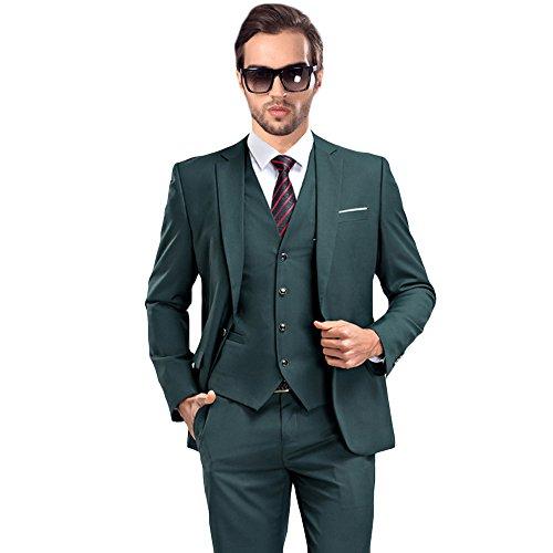 Tuxedo Jacket Blazer - MAGE MALE Mens Solid 3-Piece Suit Slim Fit Notch Lapel One Button Tuxedo Blazer Jacket Pants Vest Set