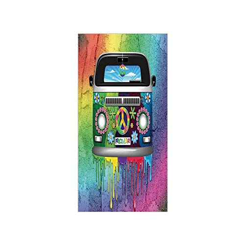 3D Decorative Film Privacy Window Film No Glue,Groovy Decorations,Old Style Hippie Van with Dripping Rainbow Paint Mid 60s Youth Revolution Movement Theme,Multi,for Home&Office