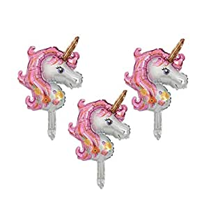 3pcs/lot Pink Unicorn Animal Head Foil Balloon Party Wedding