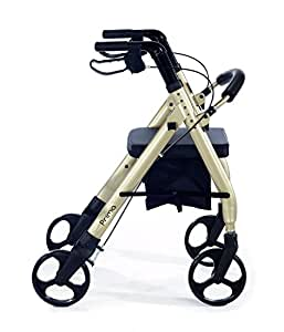 Comodità Prima Heavy-Duty Rolling Walker Rollator with Comfortable 15-Inch Wide Nylon Seat (Metallic Champagne)