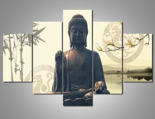 Rustic Home Decor Buddha Canvas Wall Art,Framed and Stretched Ready to Hang,Merciful Buddha Paintings on Canvas Living Room Act with Compassion,Canvas Print,Water-proof,Sincere Belief(60''Wx40''H)