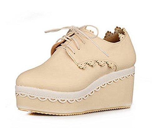 Sfnld Dames Sweet Lace-up Sleehak Pumps Sneakers Beige