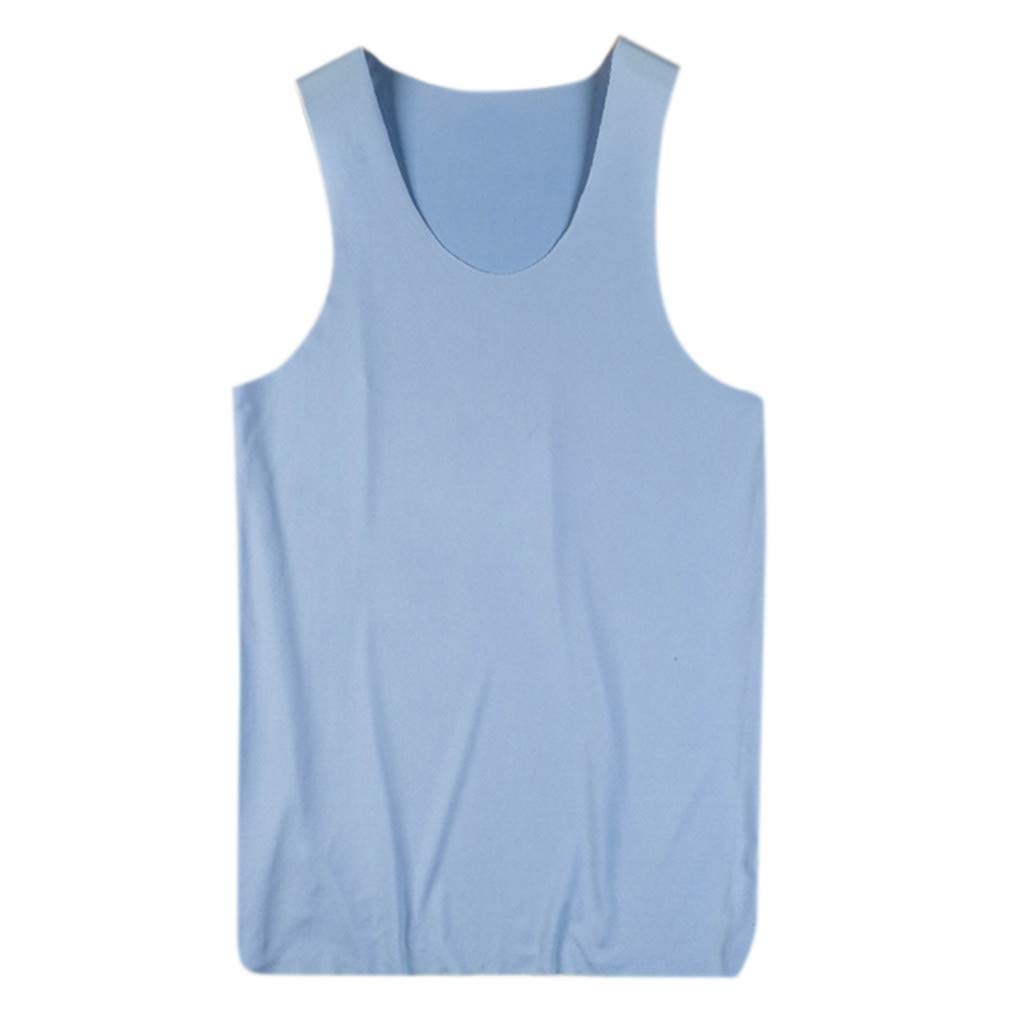 Gibobby Men Shirts,Summer Solid Slim-fit T-Shirts Comfortable Casual Undershirts Tank Tops Sleeveless Sports Tees Blue