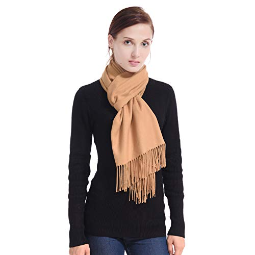 - LERDU Ladies Gift Idea Cashmere Scarf Fashion Warm Wool Wrap Shawl Winter Stole for Women Camel